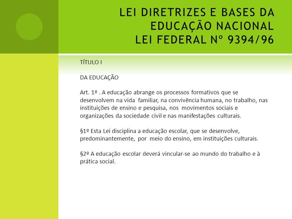 LEI DIRETRIZES E BASES DA EDUCAÇÃO NACIONAL LEI FEDERAL Nº 9394/96 TÍTULO I DA EDUCAÇÃO Art. 1º. A educação abrange os processos formativos que se des