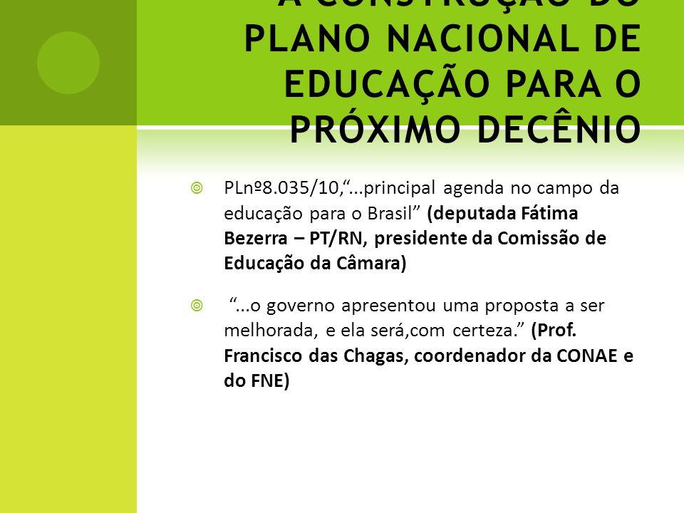 A CONSTRUÇÃO DO PLANO NACIONAL DE EDUCAÇÃO PARA O PRÓXIMO DECÊNIO PLnº8.035/10,...principal agenda no campo da educação para o Brasil (deputada Fátima