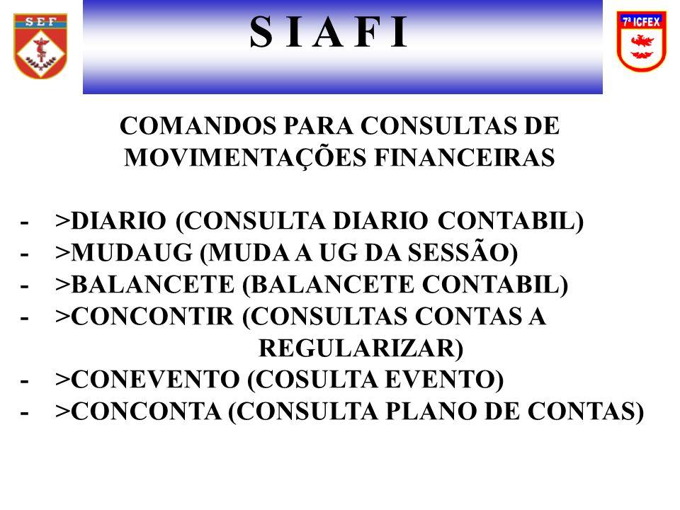 S I A F I COMANDOS PARA CONSULTAS DE MOVIMENTAÇÕES FINANCEIRAS - >DIARIO (CONSULTA DIARIO CONTABIL) - >MUDAUG (MUDA A UG DA SESSÃO) - >BALANCETE (BALANCETE CONTABIL) - >CONCONTIR (CONSULTAS CONTAS A REGULARIZAR) - >CONEVENTO (COSULTA EVENTO) - >CONCONTA (CONSULTA PLANO DE CONTAS)