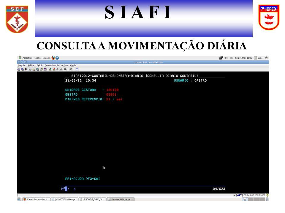 S I A F I CONSULTA A MOVIMENTAÇÃO DIÁRIA