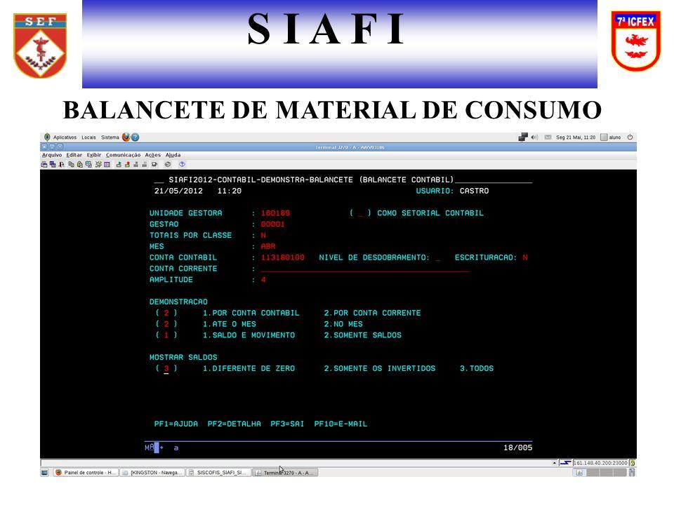 S I A F I BALANCETE DE MATERIAL DE CONSUMO
