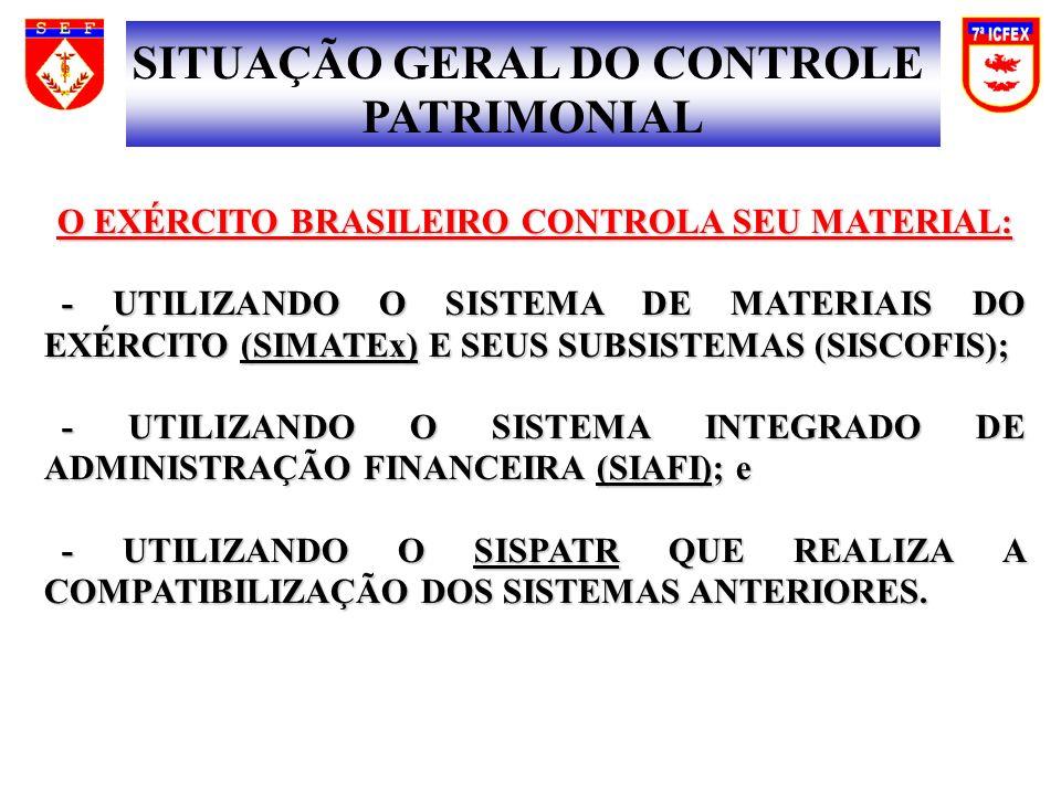 O EXÉRCITO BRASILEIRO CONTROLA SEU MATERIAL: - UTILIZANDO O SISTEMA DE MATERIAIS DO EXÉRCITO (SIMATEx) E SEUS SUBSISTEMAS (SISCOFIS); - UTILIZANDO O SISTEMA DE MATERIAIS DO EXÉRCITO (SIMATEx) E SEUS SUBSISTEMAS (SISCOFIS); - UTILIZANDO O SISTEMA INTEGRADO DE ADMINISTRAÇÃO FINANCEIRA (SIAFI); e - UTILIZANDO O SISTEMA INTEGRADO DE ADMINISTRAÇÃO FINANCEIRA (SIAFI); e - UTILIZANDO O SISPATR QUE REALIZA A COMPATIBILIZAÇÃO DOS SISTEMAS ANTERIORES.