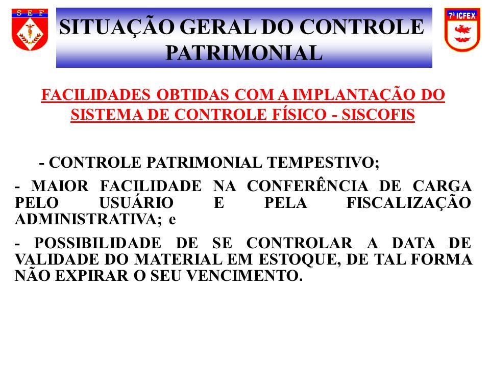 FACILIDADES OBTIDAS COM A IMPLANTAÇÃO DO SISTEMA DE CONTROLE FÍSICO - SISCOFIS - CONTROLE PATRIMONIAL TEMPESTIVO; - MAIOR FACILIDADE NA CONFERÊNCIA DE CARGA PELO USUÁRIO E PELA FISCALIZAÇÃO ADMINISTRATIVA; e - POSSIBILIDADE DE SE CONTROLAR A DATA DE VALIDADE DO MATERIAL EM ESTOQUE, DE TAL FORMA NÃO EXPIRAR O SEU VENCIMENTO.