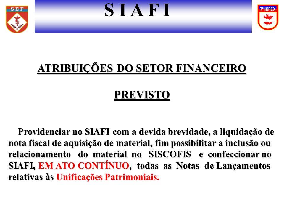 ATRIBUIÇÕES DO SETOR FINANCEIRO PREVISTO Providenciar no SIAFI com a devida brevidade, a liquidação de nota fiscal de aquisição de material, fim possi