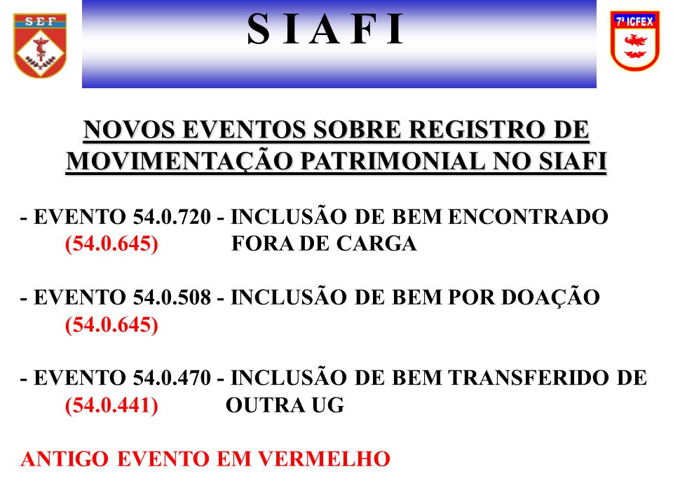 NOVOS EVENTOS SOBRE REGISTRO DE MOVIMENTAÇÃO PATRIMONIAL NO SIAFI - EVENTO 54.0.720 - INCLUSÃO DE BEM ENCONTRADO (54.0.645) FORA DE CARGA - EVENTO 54.0.508 - INCLUSÃO DE BEM POR DOAÇÃO (54.0.645) - EVENTO 54.0.470 - INCLUSÃO DE BEM TRANSFERIDO DE (54.0.441) OUTRA UG ANTIGO EVENTO EM VERMELHO S I A F I
