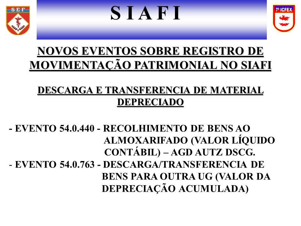NOVOS EVENTOS SOBRE REGISTRO DE MOVIMENTAÇÃO PATRIMONIAL NO SIAFI DESCARGA E TRANSFERENCIA DE MATERIAL DEPRECIADO - EVENTO 54.0.440 - RECOLHIMENTO DE BENS AO ALMOXARIFADO (VALOR LÍQUIDO CONTÁBIL) – AGD AUTZ DSCG.