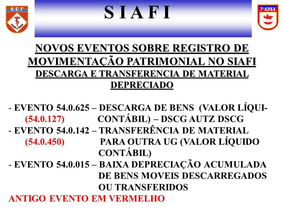 NOVOS EVENTOS SOBRE REGISTRO DE MOVIMENTAÇÃO PATRIMONIAL NO SIAFI DESCARGA E TRANSFERENCIA DE MATERIAL DEPRECIADO - EVENTO 54.0.625 – DESCARGA DE BENS (VALOR LÍQUI- (54.0.127) CONTÁBIL) – DSCG AUTZ DSCG - EVENTO 54.0.142 – TRANSFERÊNCIA DE MATERIAL (54.0.450) PARA OUTRA UG (VALOR LÍQUIDO CONTÁBIL) - EVENTO 54.0.015 – BAIXA DEPRECIAÇÃO ACUMULADA DE BENS MOVEIS DESCARREGADOS OU TRANSFERIDOS ANTIGO EVENTO EM VERMELHO S I A F I