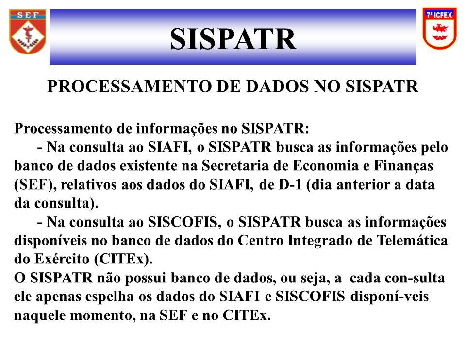PROCESSAMENTO DE DADOS NO SISPATR Processamento de informações no SISPATR: - Na consulta ao SIAFI, o SISPATR busca as informações pelo banco de dados existente na Secretaria de Economia e Finanças (SEF), relativos aos dados do SIAFI, de D-1 (dia anterior a data da consulta).