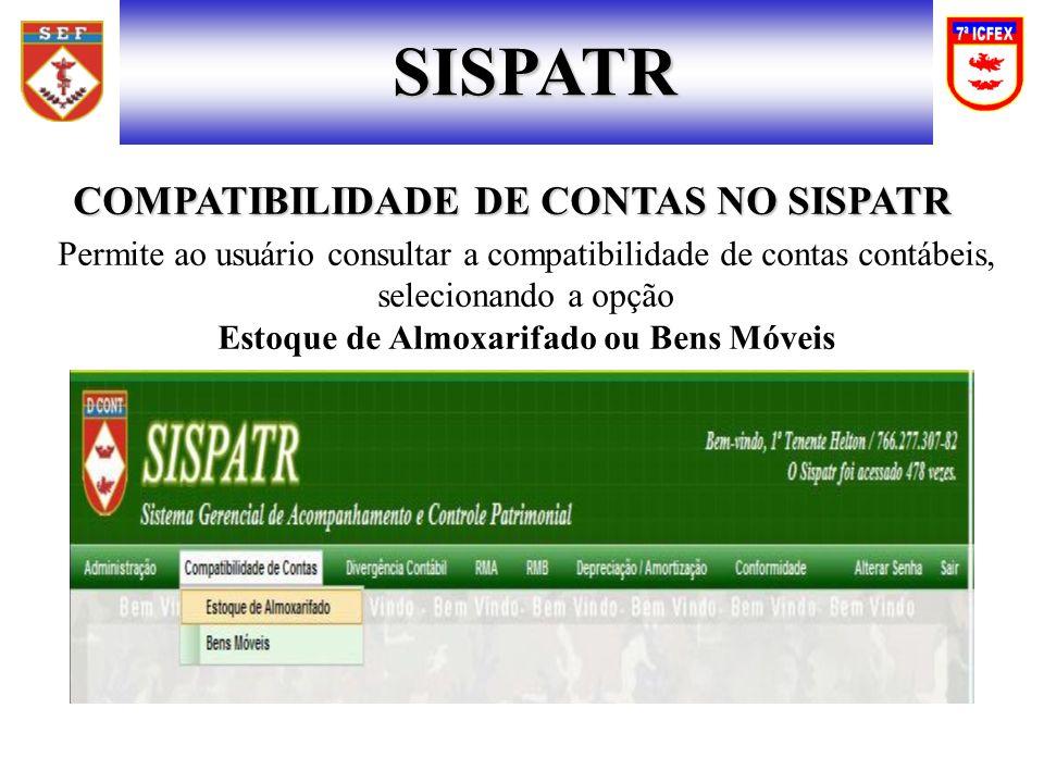 SISPATR COMPATIBILIDADE DE CONTAS NO SISPATR COMPATIBILIDADE DE CONTAS NO SISPATR Permite ao usuário consultar a compatibilidade de contas contábeis,