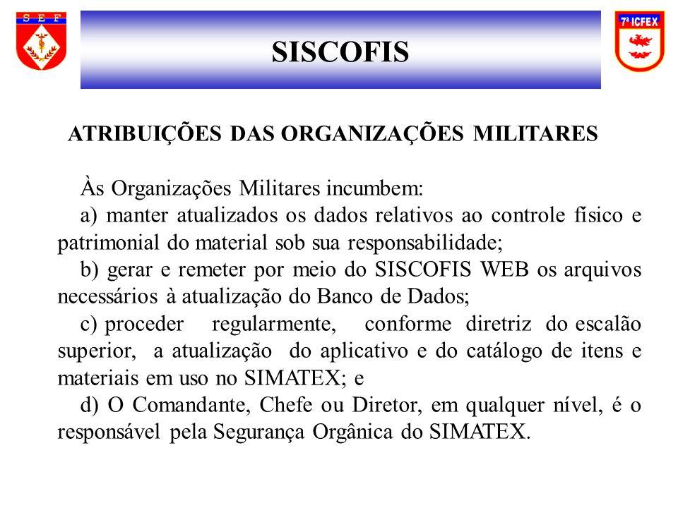 SISCOFIS ATRIBUIÇÕES DAS ORGANIZAÇÕES MILITARES Às Organizações Militares incumbem: a) manter atualizados os dados relativos ao controle físico e patr
