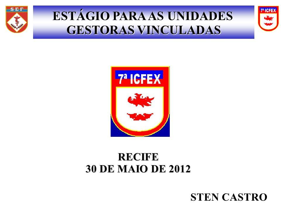 RECIFE 30 DE MAIO DE 2012 ESTÁGIO PARA AS UNIDADES GESTORAS VINCULADAS STEN CASTRO
