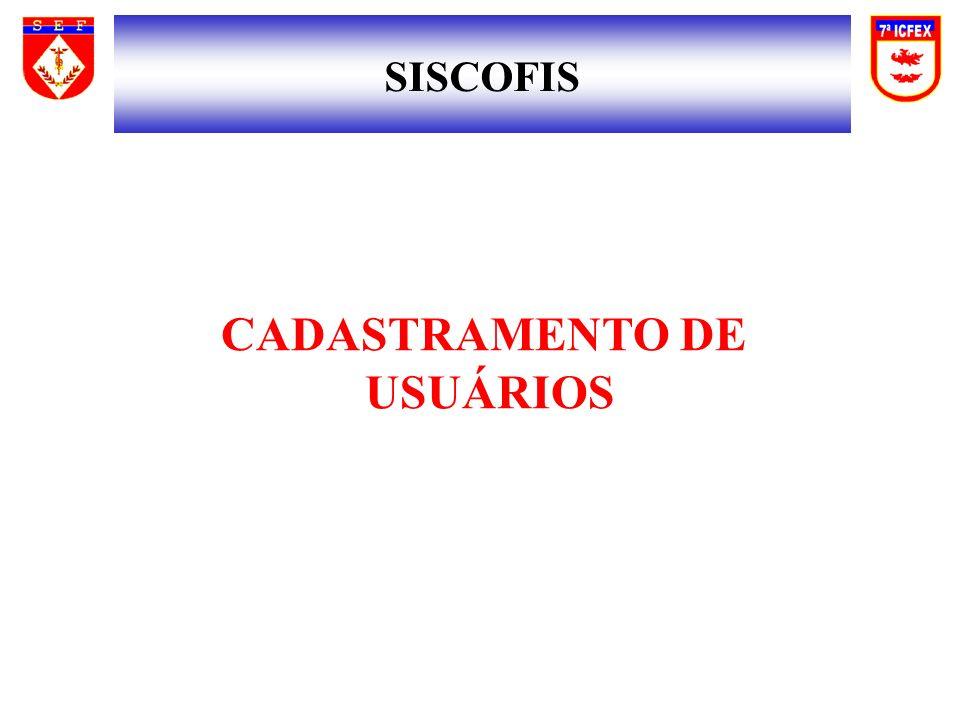 SISCOFIS CADASTRAMENTO DE USUÁRIOS
