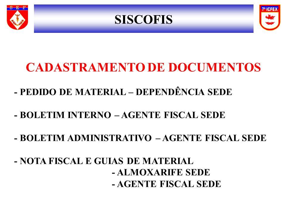 SISCOFIS CADASTRAMENTO DE DOCUMENTOS - PEDIDO DE MATERIAL – DEPENDÊNCIA SEDE - BOLETIM INTERNO – AGENTE FISCAL SEDE - BOLETIM ADMINISTRATIVO – AGENTE FISCAL SEDE - NOTA FISCAL E GUIAS DE MATERIAL - ALMOXARIFE SEDE - AGENTE FISCAL SEDE