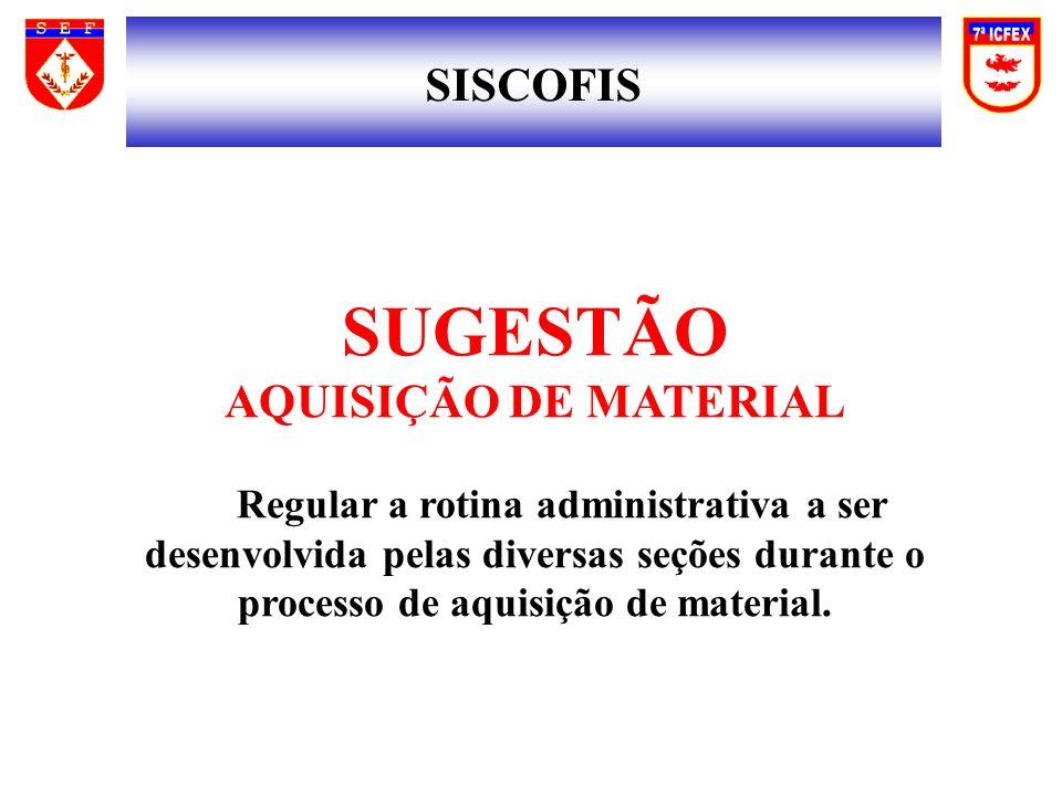 SISCOFIS SUGESTÃO AQUISIÇÃO DE MATERIAL Regular a rotina administrativa a ser desenvolvida pelas diversas seções durante o processo de aquisição de material.