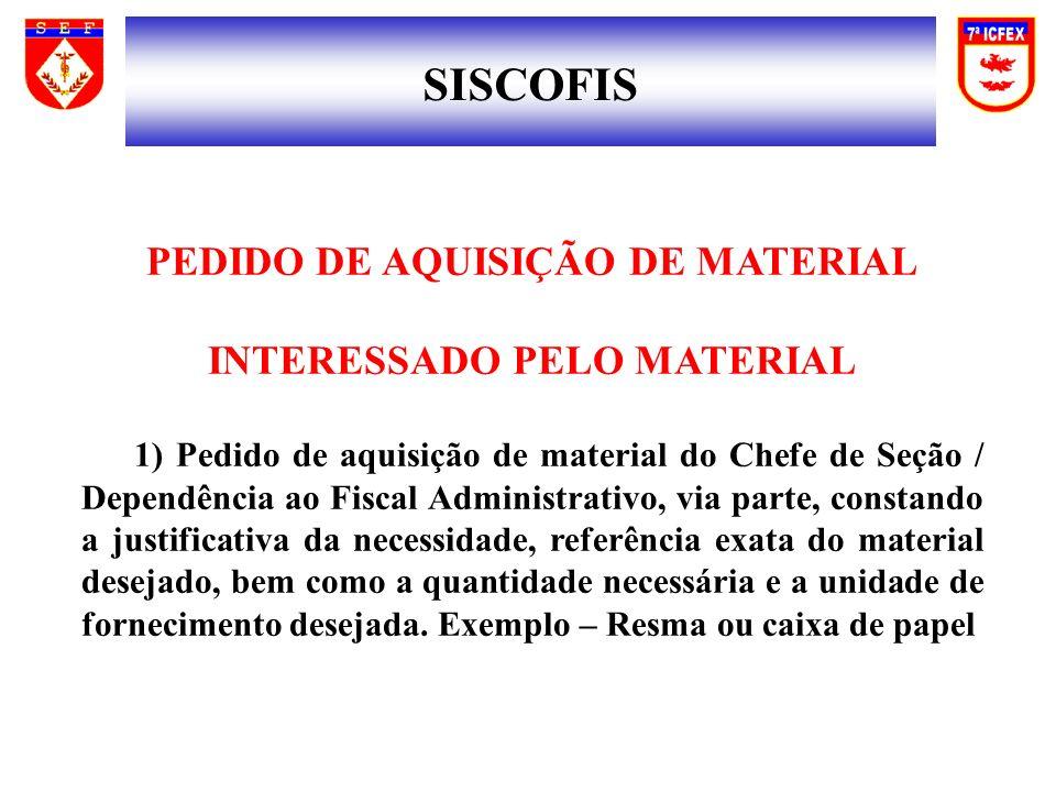 SISCOFIS PEDIDO DE AQUISIÇÃO DE MATERIAL INTERESSADO PELO MATERIAL 1) Pedido de aquisição de material do Chefe de Seção / Dependência ao Fiscal Admini