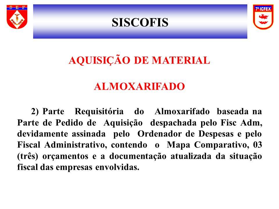 SISCOFIS AQUISIÇÃO DE MATERIAL ALMOXARIFADO 2) Parte Requisitória do Almoxarifado baseada na Parte de Pedido de Aquisição despachada pelo Fisc Adm, de