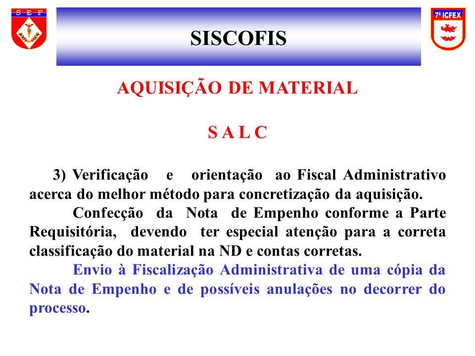 SISCOFIS AQUISIÇÃO DE MATERIAL S A L C 3) Verificação e orientação ao Fiscal Administrativo acerca do melhor método para concretização da aquisição. C
