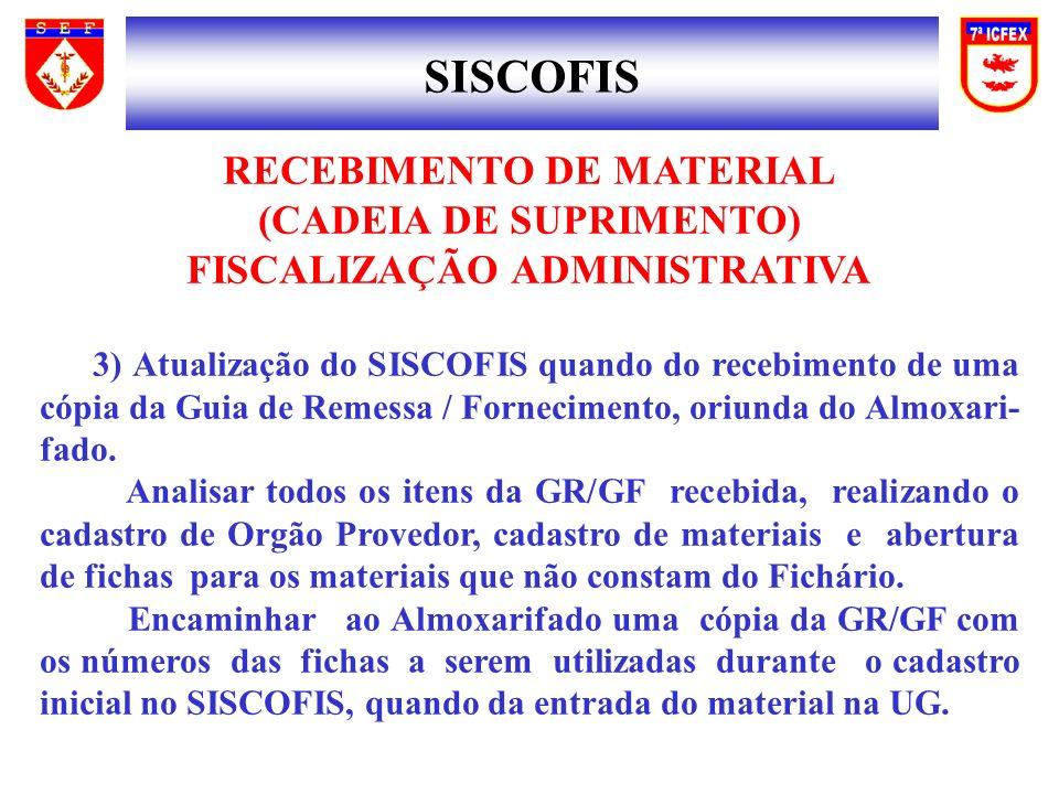 SISCOFIS RECEBIMENTO DE MATERIAL (CADEIA DE SUPRIMENTO) FISCALIZAÇÃO ADMINISTRATIVA 3) Atualização do SISCOFIS quando do recebimento de uma cópia da G