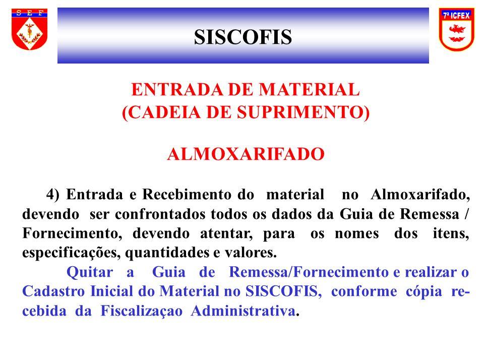 SISCOFIS ENTRADA DE MATERIAL (CADEIA DE SUPRIMENTO) ALMOXARIFADO 4) Entrada e Recebimento do material no Almoxarifado, devendo ser confrontados todos