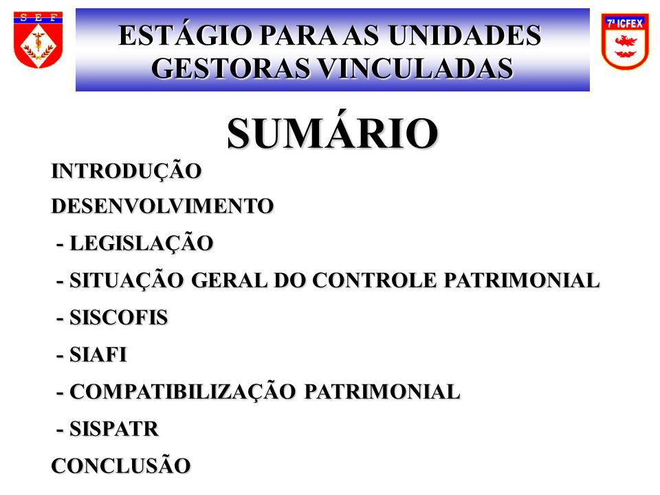 SUMÁRIOINTRODUÇÃODESENVOLVIMENTO - LEGISLAÇÃO - LEGISLAÇÃO - SITUAÇÃO GERAL DO CONTROLE PATRIMONIAL - SITUAÇÃO GERAL DO CONTROLE PATRIMONIAL - SISCOFIS - SISCOFIS - SIAFI - SIAFI - COMPATIBILIZAÇÃO PATRIMONIAL - COMPATIBILIZAÇÃO PATRIMONIAL - SISPATR - SISPATRCONCLUSÃO ESTÁGIO PARA AS UNIDADES GESTORAS VINCULADAS
