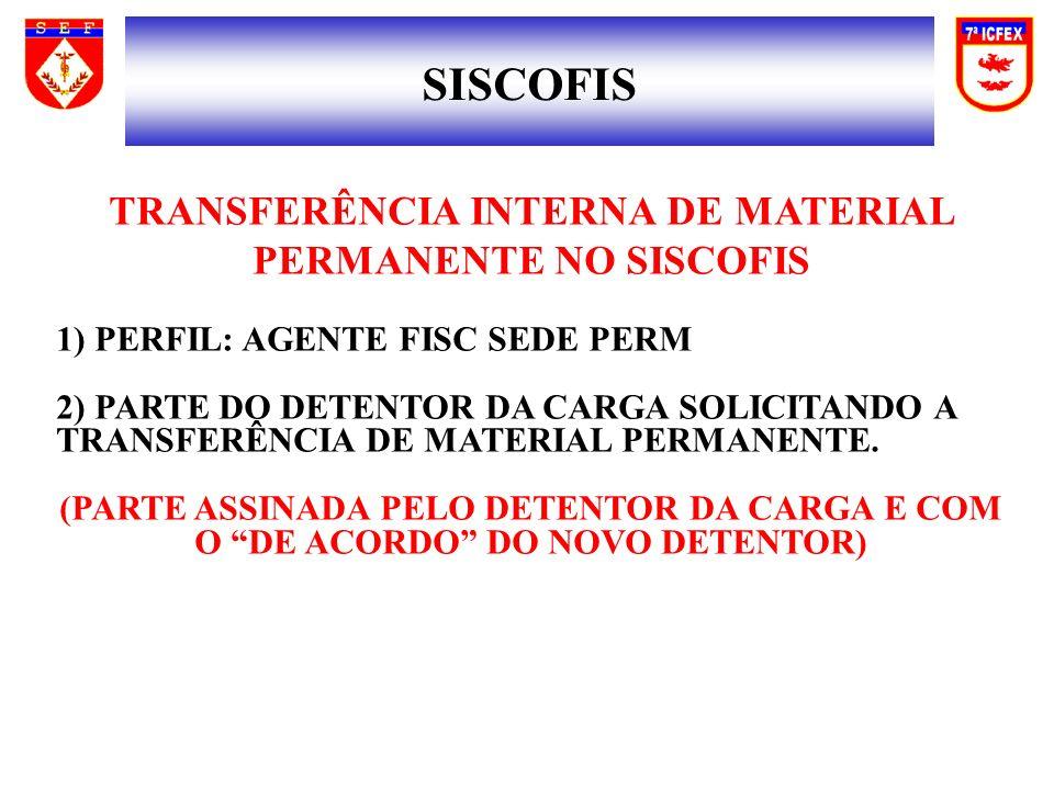 SISCOFIS TRANSFERÊNCIA INTERNA DE MATERIAL PERMANENTE NO SISCOFIS 1) PERFIL: AGENTE FISC SEDE PERM 2) PARTE DO DETENTOR DA CARGA SOLICITANDO A TRANSFERÊNCIA DE MATERIAL PERMANENTE.