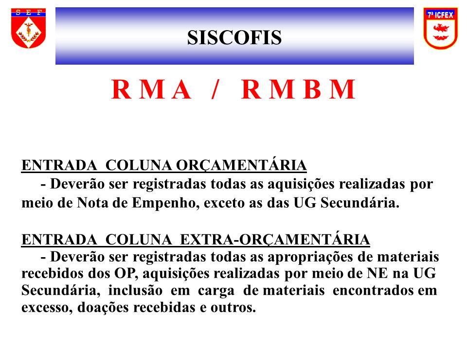 SISCOFIS R M A / R M B M ENTRADA COLUNA ORÇAMENTÁRIA - Deverão ser registradas todas as aquisições realizadas por meio de Nota de Empenho, exceto as das UG Secundária.