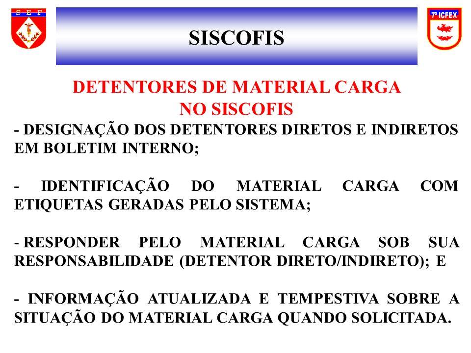SISCOFIS DETENTORES DE MATERIAL CARGA NO SISCOFIS - DESIGNAÇÃO DOS DETENTORES DIRETOS E INDIRETOS EM BOLETIM INTERNO; - IDENTIFICAÇÃO DO MATERIAL CARGA COM ETIQUETAS GERADAS PELO SISTEMA; - RESPONDER PELO MATERIAL CARGA SOB SUA RESPONSABILIDADE (DETENTOR DIRETO/INDIRETO); E - INFORMAÇÃO ATUALIZADA E TEMPESTIVA SOBRE A SITUAÇÃO DO MATERIAL CARGA QUANDO SOLICITADA.