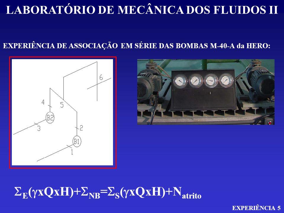 LABORATÓRIO DE MECÂNICA DOS FLUIDOS II EXPERIÊNCIA 5 EXPERIÊNCIA DE ASSOCIAÇÃO EM SÉRIE DAS BOMBAS M-40-A da HERO: E ( xQxH)+ NB = S ( xQxH)+N atrito