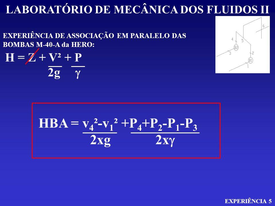 LABORATÓRIO DE MECÂNICA DOS FLUIDOS II EXPERIÊNCIA 5 EXPERIÊNCIA DE ASSOCIAÇÃO EM PARALELO DAS BOMBAS M-40-A da HERO: H = Z + V² + P 2g HBA = v 4 ²-v