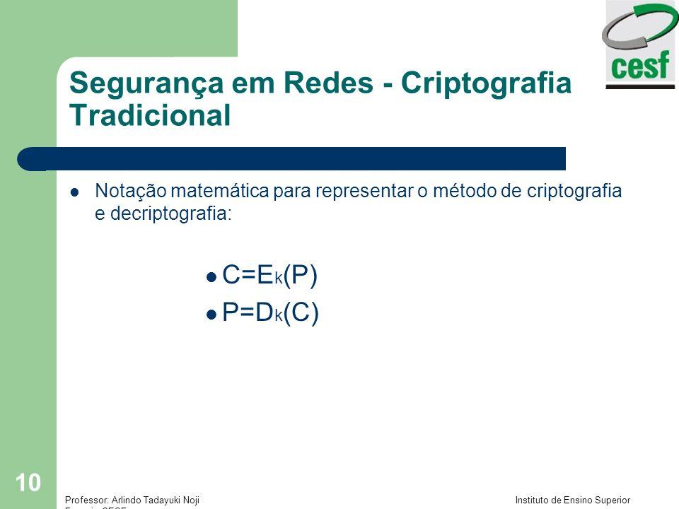 Professor: Arlindo Tadayuki Noji Instituto de Ensino Superior Fucapi - CESF 10 Notação matemática para representar o método de criptografia e decriptografia: C=E k (P) P=D k (C) Segurança em Redes - Criptografia Tradicional