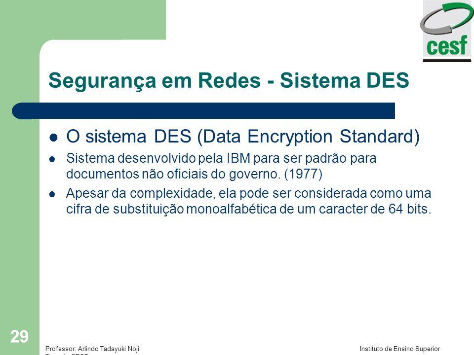 Professor: Arlindo Tadayuki Noji Instituto de Ensino Superior Fucapi - CESF 29 Segurança em Redes - Sistema DES O sistema DES (Data Encryption Standard) Sistema desenvolvido pela IBM para ser padrão para documentos não oficiais do governo.