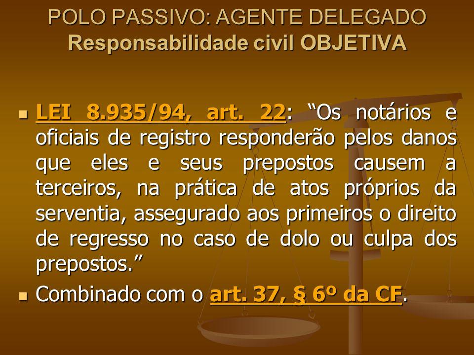 POLO PASSIVO: AGENTE DELEGADO Responsabilidade civil OBJETIVA LEI 8.935/94, art. 22: Os notários e oficiais de registro responderão pelos danos que el