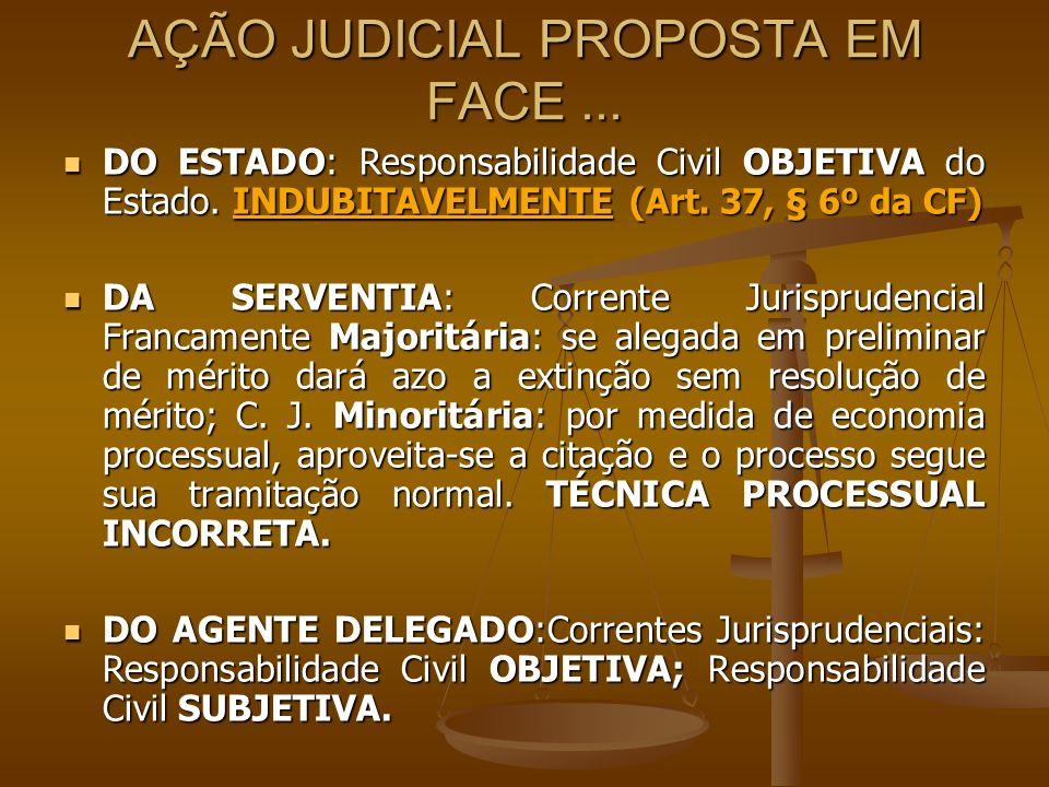 AÇÃO JUDICIAL PROPOSTA EM FACE... DO ESTADO: Responsabilidade Civil OBJETIVA do Estado. INDUBITAVELMENTE ( Art. 37, § 6º da CF) DO ESTADO: Responsabil