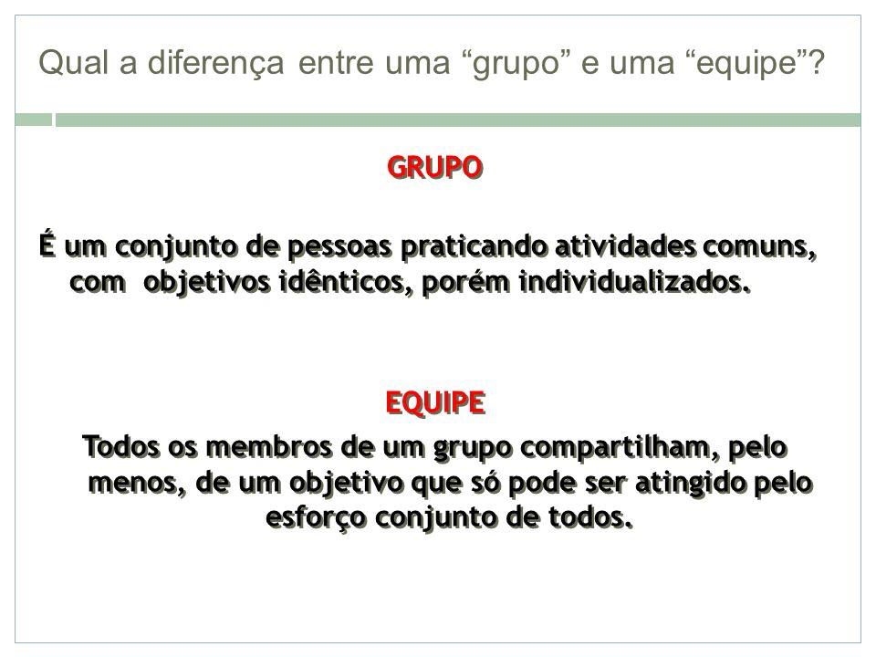 Qual a diferença entre uma grupo e uma equipe? GRUPO É um conjunto de pessoas praticando atividades comuns, com objetivos idênticos, porém individuali