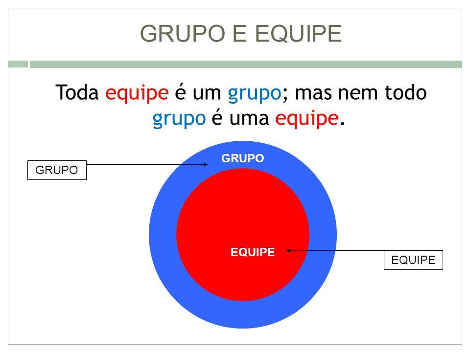 GRUPO E EQUIPE Toda equipe é um grupo; mas nem todo grupo é uma equipe. GRUPO EQUIPE GRUPO EQUIPE
