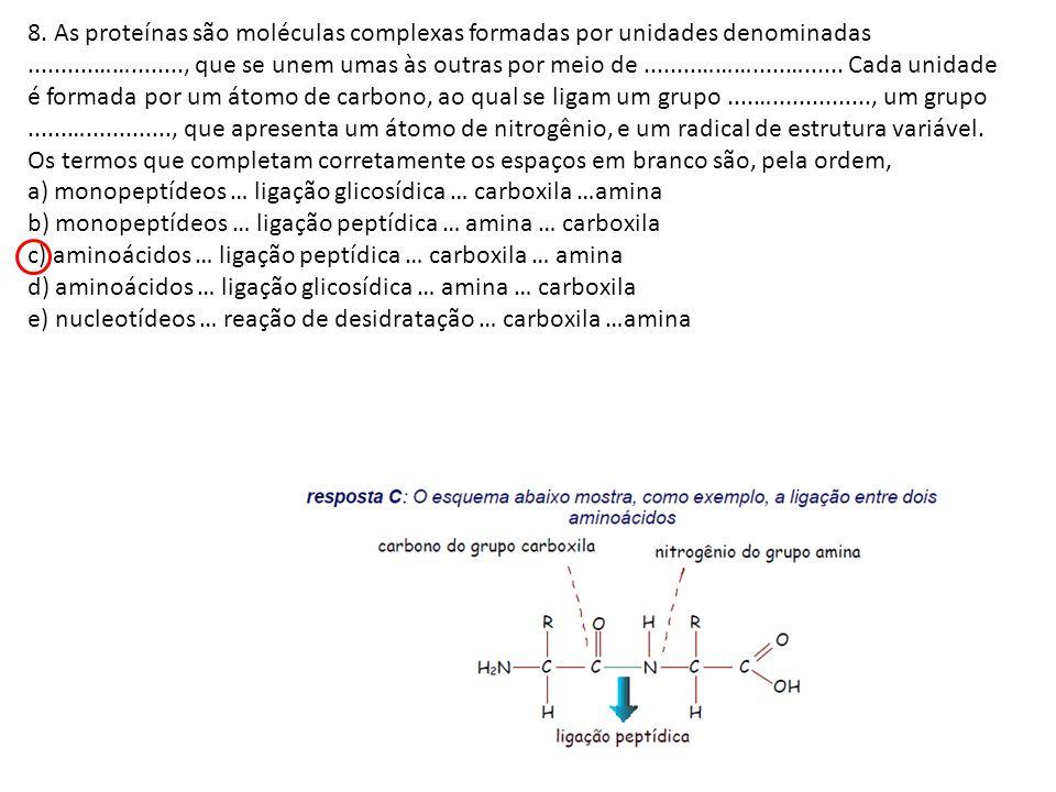 8. As proteínas são moléculas complexas formadas por unidades denominadas..........……........, que se unem umas às outras por meio de........……….....…