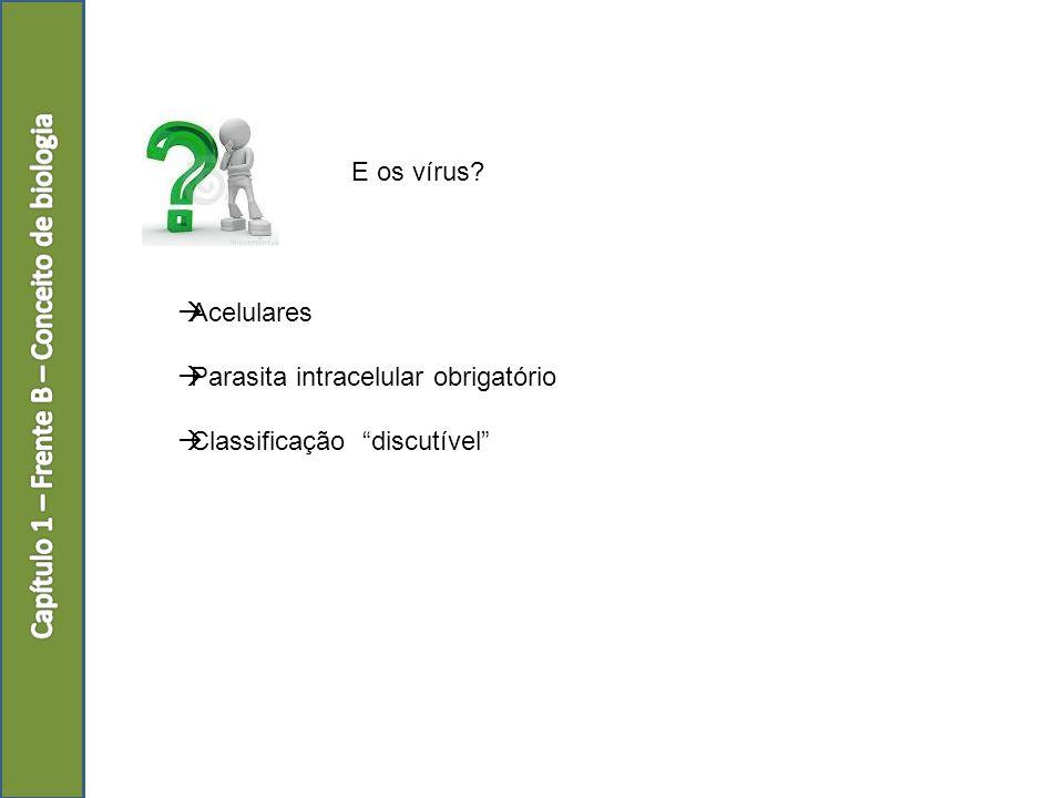 E os vírus? Acelulares Parasita intracelular obrigatório Classificação discutível