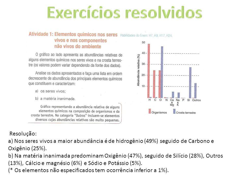 Resolução: a) Nos seres vivos a maior abundância é de hidrogênio (49%) seguido de Carbono e Oxigênio (25%). b) Na matéria inanimada predominam Oxigêni