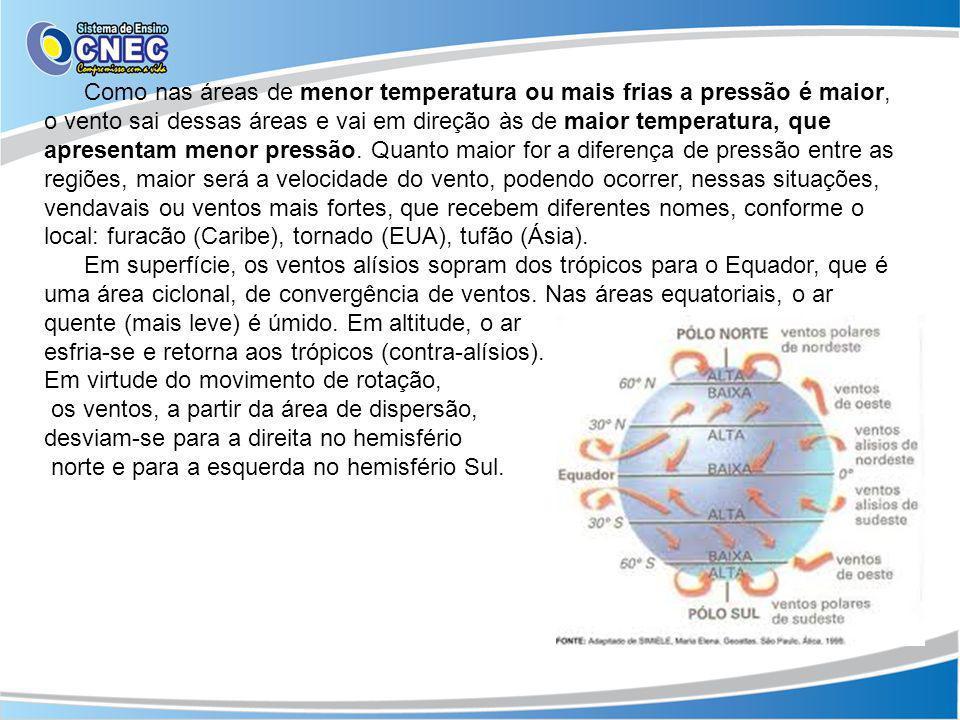 Como nas áreas de menor temperatura ou mais frias a pressão é maior, o vento sai dessas áreas e vai em direção às de maior temperatura, que apresentam