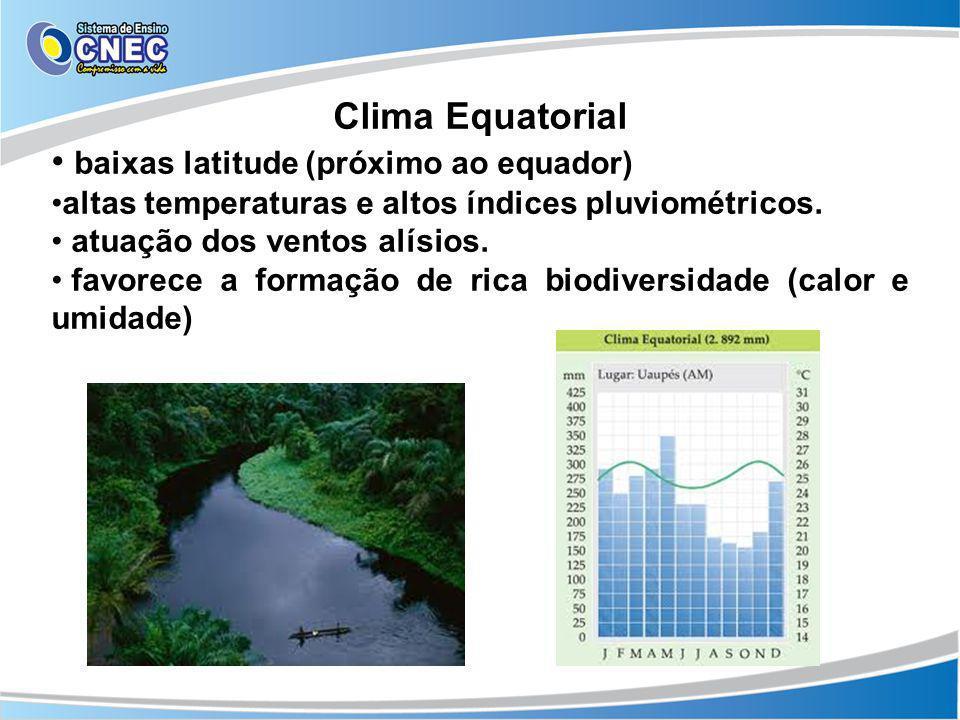 Clima Equatorial baixas latitude (próximo ao equador) altas temperaturas e altos índices pluviométricos. atuação dos ventos alísios. favorece a formaç