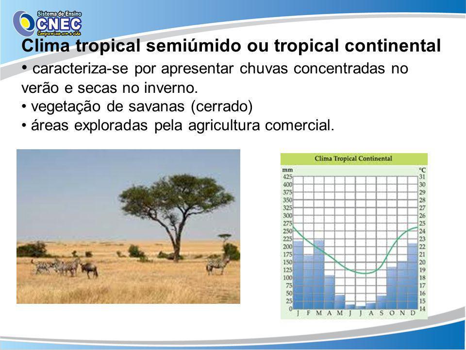 Clima tropical semiúmido ou tropical continental caracteriza-se por apresentar chuvas concentradas no verão e secas no inverno. vegetação de savanas (