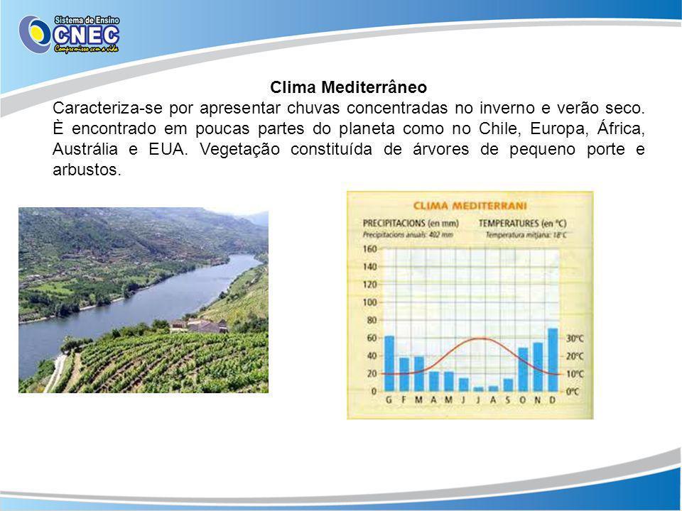 Clima Mediterrâneo Caracteriza-se por apresentar chuvas concentradas no inverno e verão seco. È encontrado em poucas partes do planeta como no Chile,