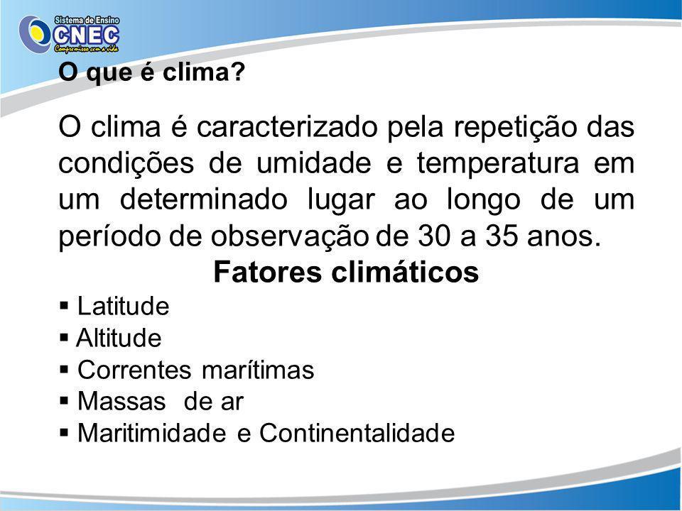 O que é clima? O clima é caracterizado pela repetição das condições de umidade e temperatura em um determinado lugar ao longo de um período de observa