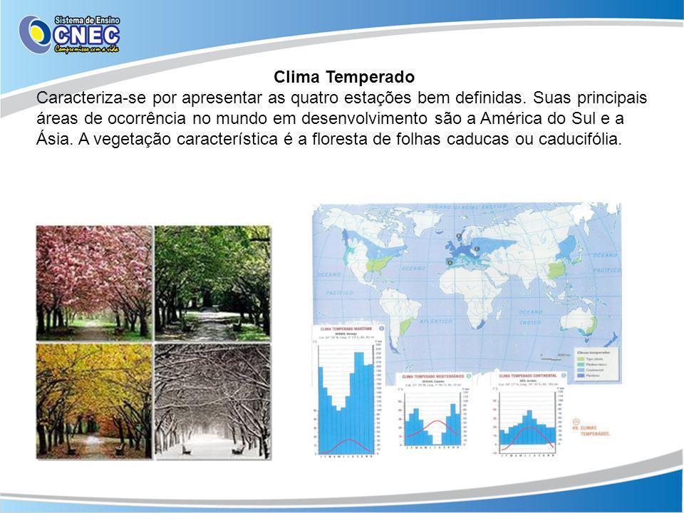 Clima Temperado Caracteriza-se por apresentar as quatro estações bem definidas. Suas principais áreas de ocorrência no mundo em desenvolvimento são a
