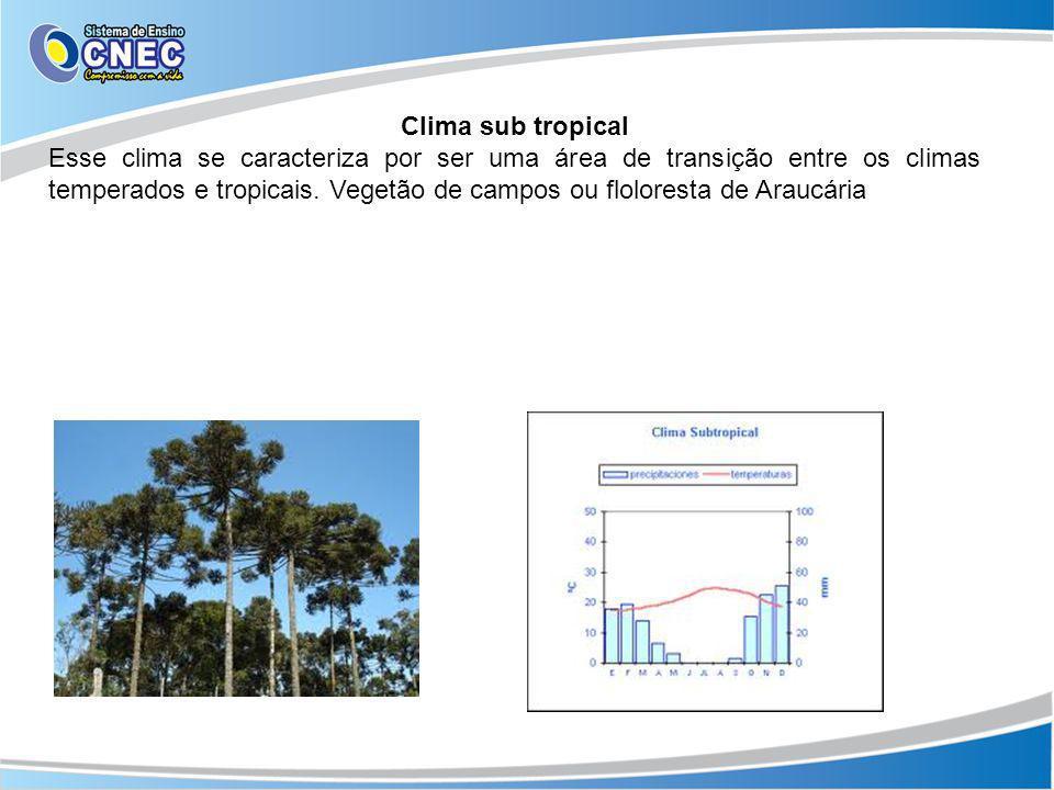 Clima sub tropical Esse clima se caracteriza por ser uma área de transição entre os climas temperados e tropicais. Vegetão de campos ou floloresta de