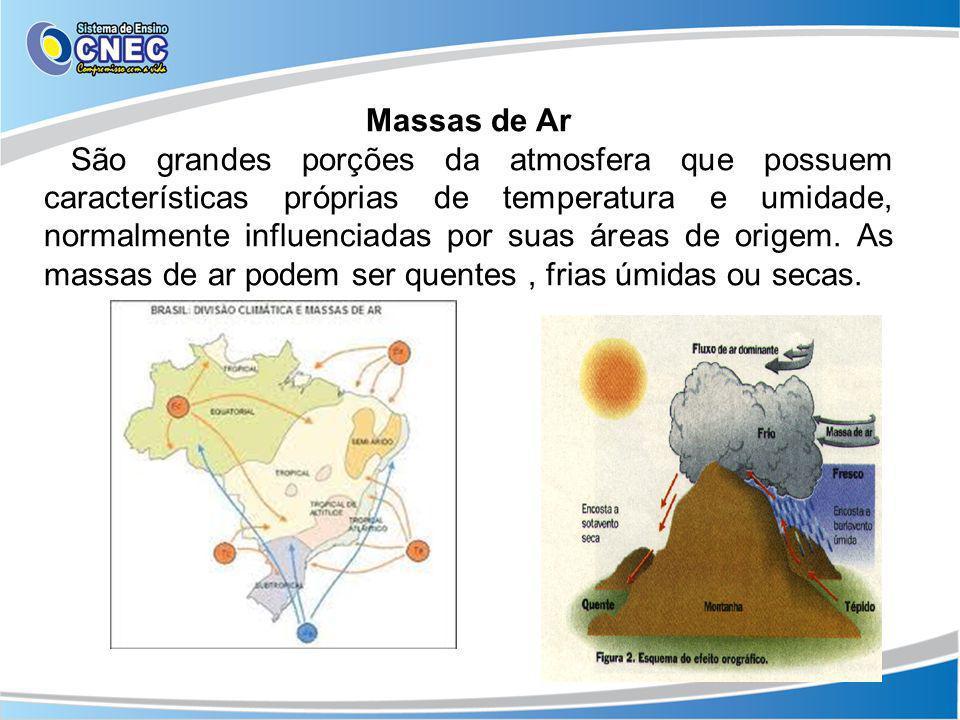 Massas de Ar São grandes porções da atmosfera que possuem características próprias de temperatura e umidade, normalmente influenciadas por suas áreas