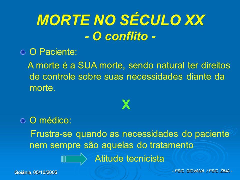 Goiânia, 05/10/2005 - PSIC. GIOVANA / PSIC. ZIMA - MORTE NO SÉCULO XX - O conflito - O Paciente: A morte é a SUA morte, sendo natural ter direitos de