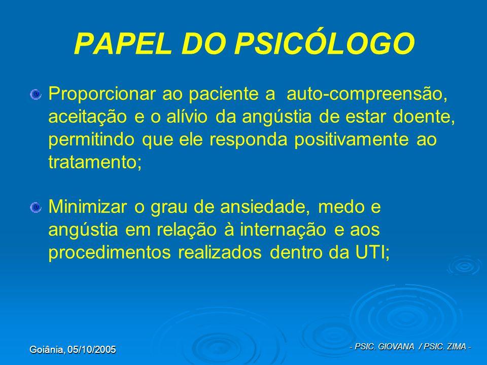 Goiânia, 05/10/2005 - PSIC. GIOVANA / PSIC. ZIMA - PAPEL DO PSICÓLOGO Proporcionar ao paciente a auto-compreensão, aceitação e o alívio da angústia de