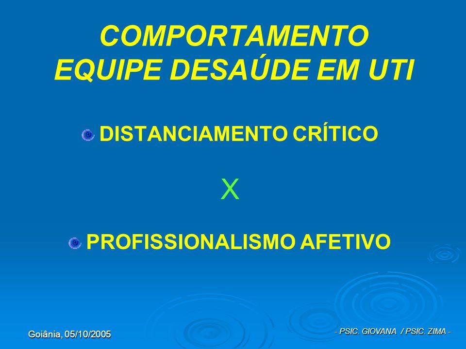 Goiânia, 05/10/2005 - PSIC. GIOVANA / PSIC. ZIMA - COMPORTAMENTO EQUIPE DESAÚDE EM UTI DISTANCIAMENTO CRÍTICO X PROFISSIONALISMO AFETIVO