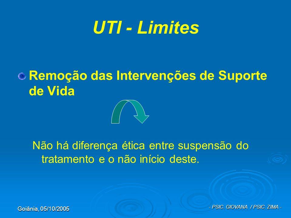 Goiânia, 05/10/2005 - PSIC. GIOVANA / PSIC. ZIMA - UTI - Limites Remoção das Intervenções de Suporte de Vida Não há diferença ética entre suspensão do